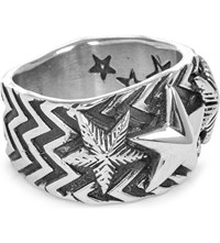 Cody Sanderson Wave Gear 3 Star Sterling Silver Ring