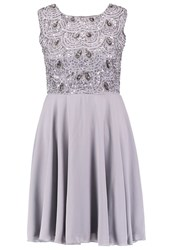 Lace And Beads Fiona Summer Dress Light Grey
