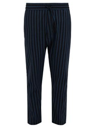 Marrakshi Life Relaxed Fit Striped Cotton Blend Trousers Black Navy