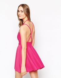 Oh My Love Textured Cross Back Skater Dress Pink