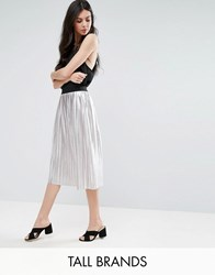 Y.A.S Tall Pleated Metallic Skirt Silver