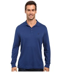 Nautica Long Sleeve Solid Interlock Polo Estate Blue Men's Long Sleeve Pullover Navy