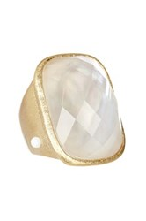Rivka Friedman 18K Gold Clad Faceted Rock Crystal And Mother Of Pearl Rectangular Ring White