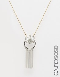 Asos Curve Statement Chain Long Pendant Necklace Silver