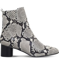 Kurt Geiger London Dare Snake Print Leather Boots Beige Comb