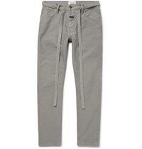 Fear Of God Slim Fit Belted Cotton Corduroy Jeans Gray