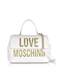 Love Moschino Patent Eco Leather Shoulder Bag W Signature Logo White