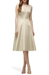 Women's Lela Rose Bridesmaid V Neck Metallic Fit And Flare Dress