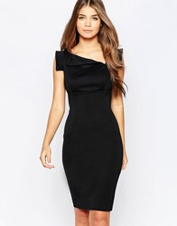 City Goddess Midi Pencil Dress With Asymmetric Neckline Black