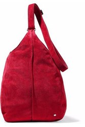 Halston Suede Shoulder Bag Crimson