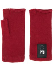 Y 3 Fingerless Knit Mittens Red