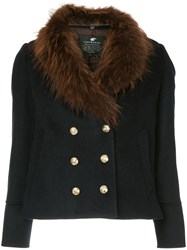 Loveless Fur Collar Double Breasted Jacket Blue