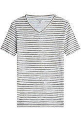 Majestic Striped Linen T Shirt Gr. Xl
