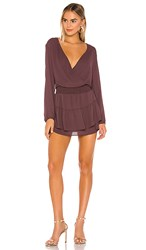 Krisa Smocked Surplice Dress In Brown. Spice