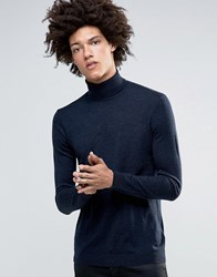Minimum Thad Merino Roll Neck Jumper Dark Navy