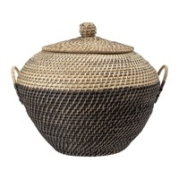 Bloomingville Rattan Lidded Basket Natural Black