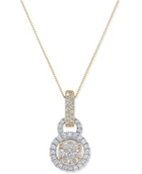 Macy's Diamond Two Tone Pendant Necklace 1 Ct. T.W. In 14K Gold And White Gold Two Tone