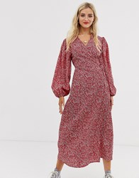 Glamorous Midaxi Wrap Dress In Ditsy Floral Red