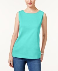 Karen Scott Boat Neck Tank Top Only At Macy's Pacific Aqua