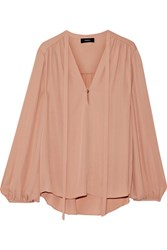 Theory Bernetta Pussy Bow Silk Blouse Blush