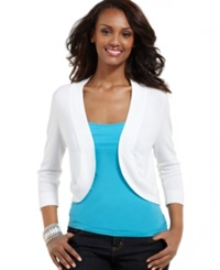 Jessica Howard Three Quarter Sleeve Open Front Cardigan White