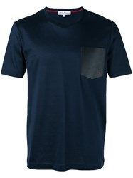 Salvatore Ferragamo T Shirt With Leather Pocket Blue