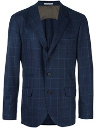Brunello Cucinelli Plaid Blazer Blue
