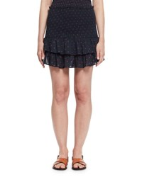Etoile Isabel Marant Malfos Tiered Polka Dot Flounce Skirt Midnight
