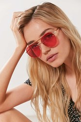 Urban Outfitters Fiona Translucent Aviator Sunglasses Red