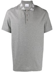 Burberry Logo Intarsia Polo Shirt Grey