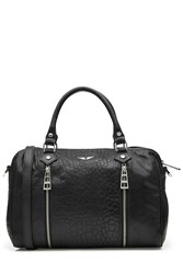 Zadig And Voltaire Textured Leather Oversized Tote Black