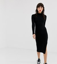 River Island Knitted Bodycon Dress With High Neck In Black