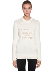 Giada Benincasa Round Neck Wool Christmas Sweater White
