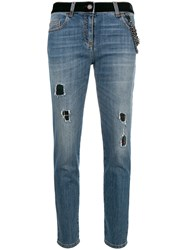 Boutique Moschino Distressed Cropped Jeans Blue