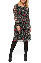 Evans Plus Size Women's Floral Print Mesh Fit And Flare Dress Multi Dark