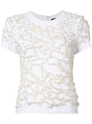 Vera Wang Embroidered Pearls T Shirt White