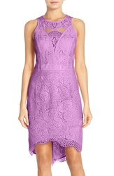 Adelyn Rae Women's Lace High Low Sheath Dress Lilac Pink