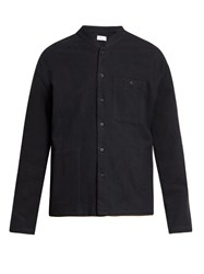 Fanmail Mandarin Collar Cotton Flannel Shirt Black