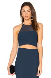 Bcbgeneration Mesh Crop Tank Navy