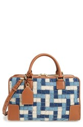 Loewe Amazona Woven Denim And Leather Satchel