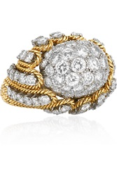 Fred Leighton Vintage David Webb 18 Karat Gold Platinum And Diamond Ring