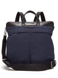 Paul Smith Padded Nylon And Leather Backpack Blue