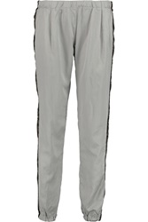 Clu Camouflage Trimmed Silk And Cotton Blend Twill Tapered Pants