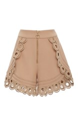 Self Portrait Lace Trimmed High Rise Shorts Nude