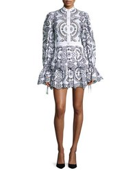 Alexander Mcqueen Embroidered Eyelet Fit And Flare Dress Black White Black White