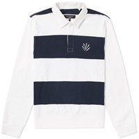 Rag And Bone Long Sleeve Rigby Rugby Shirt Blue