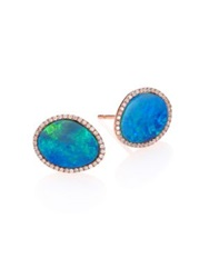 Meira T Opal Diamond And 14K Rose Gold Stud Earrings Rose Gold Blue