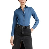 Barneys New York Rainbow Stitched Chambray Button Front Shirt Blue