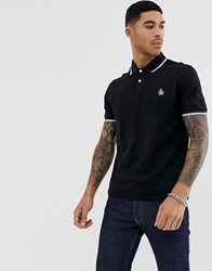 Original Penguin Slim Fit Tipped Pique Polo In Black
