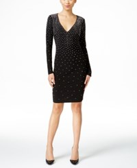 Inc International Concepts Petite Embellished V Neck Sheath Dress Only At Macy's Deep Black